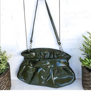 Vintage Chateau green patent leather purse clutch